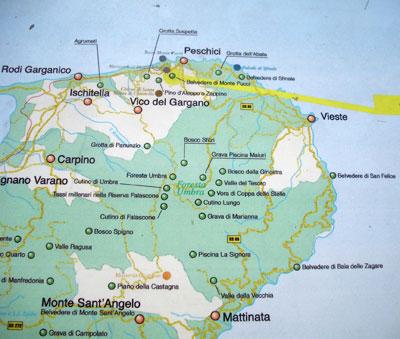 Cartina Puglia Zona Gargano.La Mappa Di Peschici La Mappa Del Gargano La Cartina Di Peschici